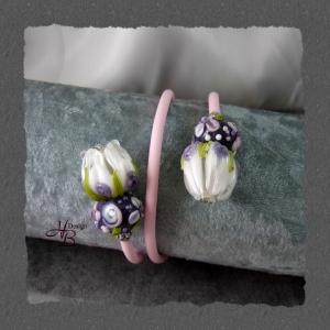 Armband Kautschuk, Knospe, Beads, Lampworkbeads, Fokalbeads, SRA, Unikate, Unisex