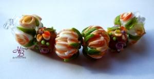 Chrysantheme Blumen  Set türkis , Blumen Perle, Lampwork Beads, beads Unikate,Ohrring Perlen, SRA, Muranoglas, Glasperlen