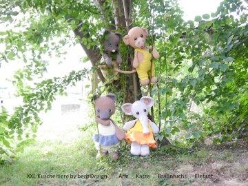Kuscheltiere XXL ☆ Häkelanleitung Amigurumi ☆  Fuchs Affe Elefant Katze