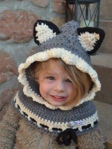 Kinder Kapuzenschal WOLF Animalhat