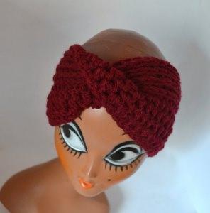 Stirnband Turban mit dem Dreh in dunkelrot
