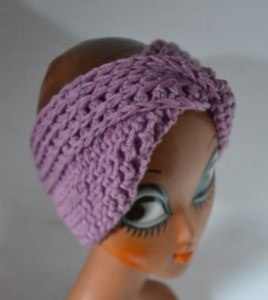 Stirnband Turban mit dem Dreh in flieder rosa