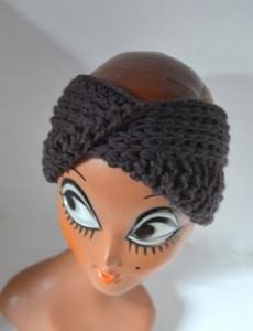 Stirnband Turban mit dem Dreh in pflaume lila