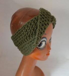 Stirnband Turban mit dem Dreh in waldgrün khaki