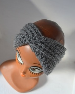 Stirnband Turban mit dem Dreh in grau