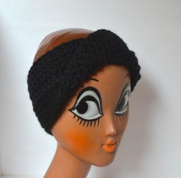 Stirnband Turban mit dem Dreh in schwarz