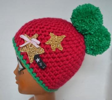 Schwarzwald Mütze Bollekapp Bommelmütze in grün und pink  mit goldenem Stern