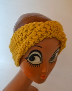Stirnband Turban mit dem Dreh in sonnen gelb