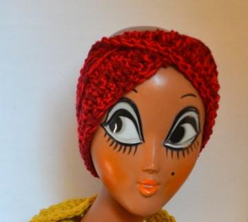 Stirnband Turban mit dem Dreh in sonnen meli melo rot