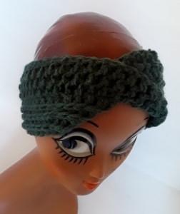 Stirnband Turban mit dem Dreh in tannengrün