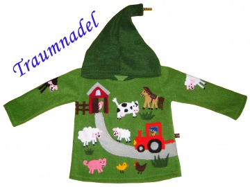 Zipfelpulli Modell Bauernhof Tiere in Wunschgrößen 86/92 bis 146/152 Fleece