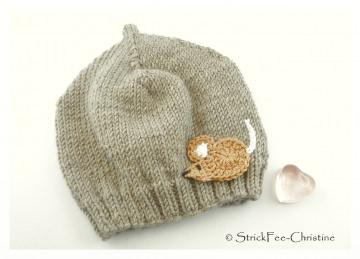 gestrickte warme Erstlingsmütze 100 % Wolle (Merino)