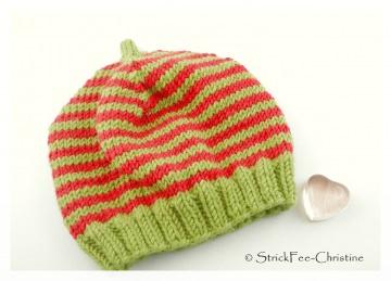 warme gestrickte Erstlingsmütze 100 % Wolle (Merino) KU 34 - 39 cm  rot/apfelgrün gestreift