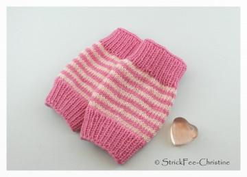 handgestrickte Babystulpen Merino pink/rosa für Mädchen