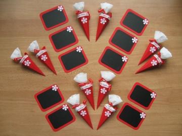 Schulanfang Deko 20 tlg. Einschulung Schultüte Tafel ~ rot/weiß/Blume