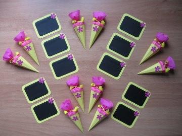 Schulanfang Deko 20 tlg. Einschulung Schultüte Tafel ~ gelb/pink/Blume