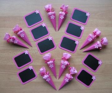 Schulanfang Deko 20 tlg. Einschulung Schultüte Tafel ~ pink/rosa/Blume