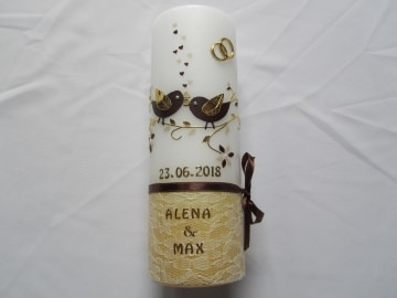 Vintage Hochzeitskerze mit Spitze und kleinen Vögelchen