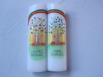 Taufkerzenset Lebensbaum für Zwillinge oval mit Regenbogen