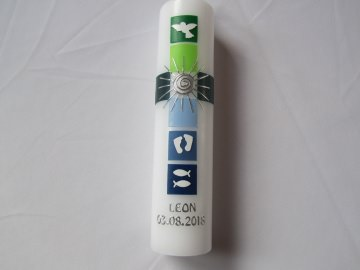 Taufkerze buntes Kreuz blau grün mit Sonne und weißen Symbolen  - Handarbeit kaufen