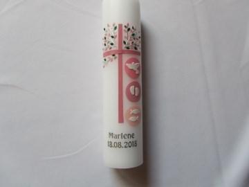 Taufkerze mit rosanem Kreuz und Lebensbaum in silber  - Handarbeit kaufen