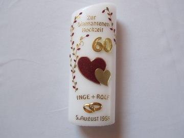 Jubiläumskerze zur Diamantenen Hochzeit mit zwei Herzen  - Handarbeit kaufen
