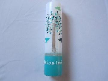 Taufkerze mit Lebensbaum türkis-silber für Mädchen und Jngen mit Tauben  - Handarbeit kaufen