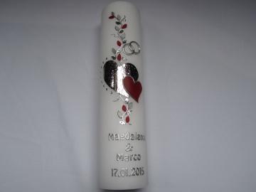Romantische Hochzeitskerze mit  zwei Herzen  - Handarbeit kaufen