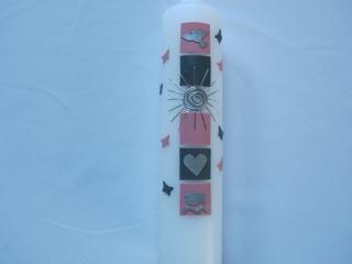 Taufkerze für Mädchen rosa-graue Quadrete - Handarbeit kaufen
