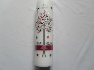 Taufkerze mit Lebensbaum  für Mädchen rosa mit Sternen
