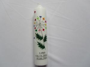 Taufkerze mit Pusteblume mit bunten Herzchen - Handarbeit kaufen