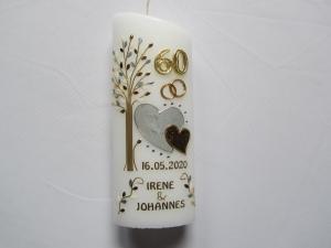Jubiläumskerze zur Diamantenen Hochzeit mit zwei Herzen  und Lebensbaum
