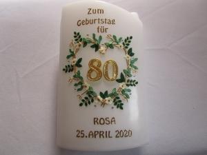 Geburtstagskerze mit Blätterherz - Handarbeit kaufen