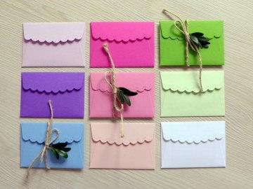 Kleiner Umschlag, Miniumschlag, kleines Kuvert, Minikuvert, 9 Stück