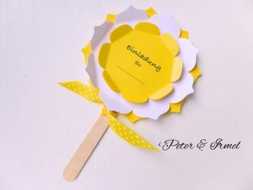 Einladung, Kindergeburtstag, Blume am Stiel mit Schleife, gelb, sonnengelb