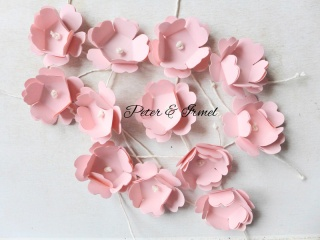 Papierblüten, Streudeko, Konfetti,  Hochzeit, Tischdeko, Gastgeschenk, 12 Stück