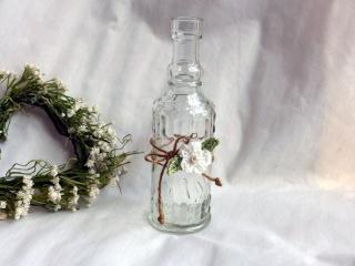 Dekoflasche,  Flasche, Shabby, Pastell, Vintage, Vase, Häkelblüte