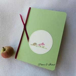 Grußkarte, handgemalt, Igel, Fliegenpilz