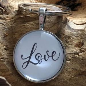 Schlüsselanhänger Cabochon - Love - Freude schenken - (25mm) - Glücksbringer