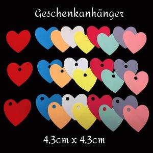 Geschenkanhänger Herz - Stanzteile - Scrapbooking - basteln - Hochzeit - Anhänger - 4,3 cm groß