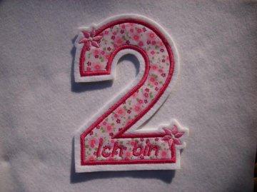 Applikation ♥  Geburtstagszahl  2 ♥  Aufnäher ♥ rosa pink  - Handarbeit kaufen