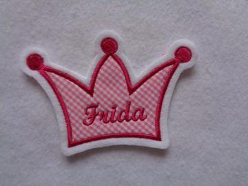 Krone mit Wunschnamen ♥ Aufnäher ♥ Applikation ♥ pink  - Handarbeit kaufen