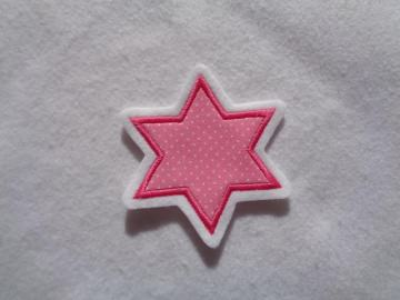 Stern ♥ rosa  ♥ ca. 7 x 7 cm ♥ Applikation ♥ Applikation   - Handarbeit kaufen