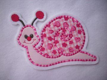 Süsse Schnecken-Applikation ♥ Aufnäher ♥ rosa ♥ pink ♥  - Handarbeit kaufen