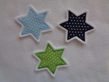 Stern ♥ wahlweise grün, blau oder hellblau ♥ ca. 7 x 7 cm ♥ Applikation ♥ Applikation  - Handarbeit kaufen
