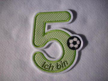 süsse Zahl 5, Geburtstagszahl für kleine Fussballfans ★ Applikation : ★ Aufnäher : ★  (Kopie id: 54109)