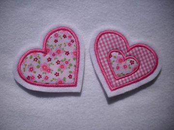 Applikation/Aufnäher 2 kleine Herzchen