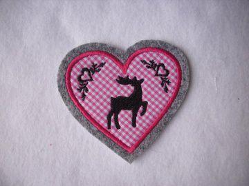 Herz ♥ mit gest. Hirsch und Ornamenten ♥ Aufnäher/Applikation ♥ pink
