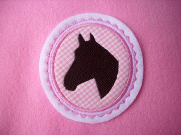 Pferdekopf gestickt ☆ Aufnäher ☆ rosa/weiss/braun   - Handarbeit kaufen
