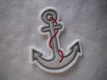 ♥ Anker ♥ Applikation ♥ Aufnäher ♥ maritim ♥ grau